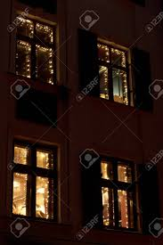 luxury decorated windows with garland lights in european