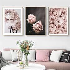 doludo poster set 3 teilig leinwand landschaft bild leinwand für wohnzimmer bilder mit blumen leinwand pfingstrose poster nordic wandkunst moderne