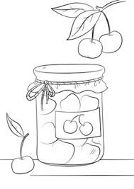 Cherry Jam Jar Coloring Page