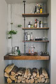 Shelves Bar With Rustic Wall Sconces Home And Floating Terrarium