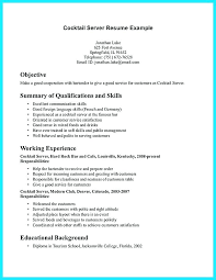 Resume Server Experience Bartender Cover Letter Sample No Elegant Of B Cocktail