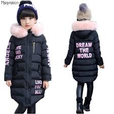 Girls Winter Coat Casual Outerwear Warm Long Thick Hooded Jacket For 2017 Fashion Teenage