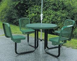 36 Round Metal Picnic Table W Attached Chairs