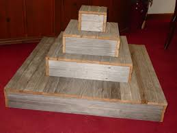 4 Tier Wood Cake Stand Wedding Cupcake Box Plate Barn Primitive Reclaimed Marriage Vintage