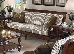 Gray Finish Two Cushion Wooden Frame Sofa With Wood Cushions Decorating
