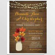Rustic Fall Mason Jar Leaves Barn Wedding Invitation
