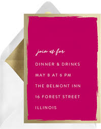 Brushed Gold Border Invitation In Pink