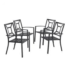 PHI VILLA Metal Patio Outdoor Dining Chairs Set Of 4 Stackable Bistro Deck  Chairs For Garden Backyard Lawn Support 300LB, Black