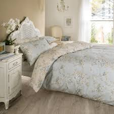 Echo Jaipur Bedding by Vantona Rosa Floral Design Duvet Cover Set Blue Bedding