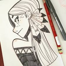 Pencil Pen Girl With Feathers Art