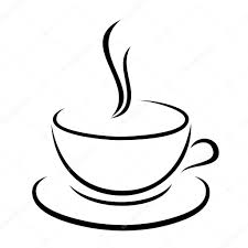 Vector Illustration Of Coffee Cup In Black Color White Background Stock