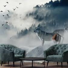 details zu vlies fototapete wolf wald nebel bäume wohnzimmer schlafzimmer vögel tiere 5