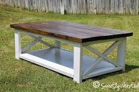 White Rectangle Stained Wood Rustic X Coffee Table Designs To Complete Living Room Ideas