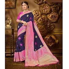 Buy Purple Kanjivaram Banarasi Silk Saree With Pink Blouse Piece For