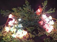Vintage Christmas Tree Light String W Plastic Flower Reflectors Mid Century 4