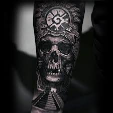 3d Amazing Guys Mayan Hunab Ku With Skull Forearm Sleeve Tattoo
