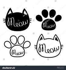 Cat Paw Print Pumpkin Stencil by Black Cat Head Meow Lettering Contour Stock Vector 577385188