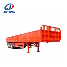 100 Semi Truck Trailers Hot Item Heavy Load 60tons 3axle Side Wall Flatbed Cargo