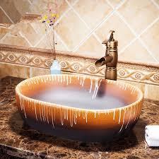 glasierte oval jingdezhen fabrik direkt keramik handbemalt ecke waschbecken badezimmer waschbecken porzellan