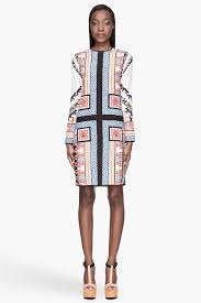 msgm orange and blue patterned silk tunic dress in orange lyst