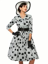 lapel polka dots women u0027s vintage dress 1950s tbdress com