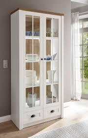 landhaus wohnzimmer glasvitrine standvitrine 90cm pinie weiß eichefarben hell
