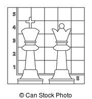 Chess Icon In Outline Style Isolated On White Background Board Games Symbol Stock Rastr Illustration