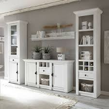 details zu wohnwand weiß landhaus wohnzimmer set 4 teilig anbauwand westerland 1 in pinie