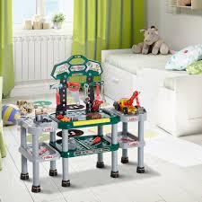 homcom kinder arbeitstisch werkbank mit 121 zubehör rollenspiel grün