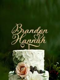 Personalized Wedding Cake Topper Name Custom Toppers Rustic For Weddings Couple Gold