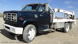 100 1977 Gmc Truck GMC 6000 Flatbed Truck With Crane Item DB4885 SOLD