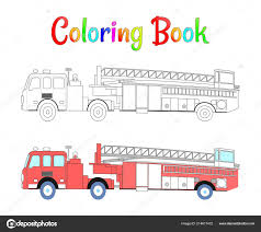 Fire Truck Coloring Book Vector. Coloring Pages For Kids Vector ...
