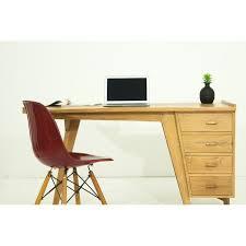 bureau teck massif droit 4 tiroirs design et contemporain misha en teck massif naturel