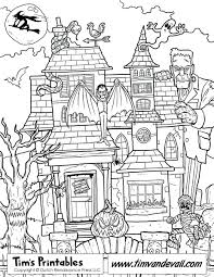 Printable Haunted House Coloring Page Pages Full White Birdhouse For Adults Size
