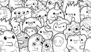 Bright Inspiration Coloring Pages Kawaii Monsters Doodle Page Printable Cute For 2 Food Crush Cat