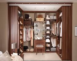 u shaped walk in cabinet for clothes with dressing table design