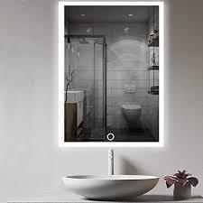 auperto led badezimmer spiegel 50x70cm wandspiegel badezimmerspiegel mit berührung sensorschalter weißes warmweiß warmes licht vertikale oder