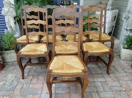 Antique French Farm Dining Chairs Rush Seats Carved Tall Ladder Back ... Guy Chaddock Melrose Custom Handmade Fniture Cf0485s Country French Ding Chairs With Ladder Back And Rush Seats Antique Farm Carved Tall Seat Room Set Of 6 Provincial In Walnut 10 Louis Xv Style Oak Leather Nailhead Recliner Chair Vintage White Of Four Six Xiv Ladderback Scalloped Stretchers Inspire Q Eleanor Wood 2 By Dec 16 2018