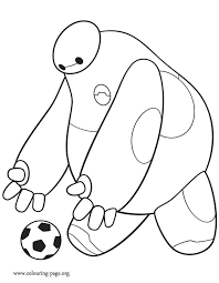 It Seems That Baymax Wants To Get In The Soccer Spirit Will He Succeed Have Fun With This Free Coloring Page From Disney Movie Big Hero