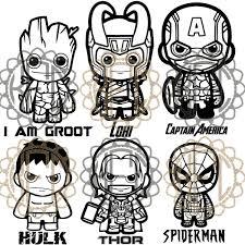 Cute Chibi Avengers Groot Hulk Captain Spiderman Thor Loki