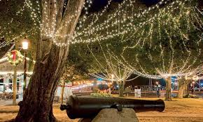 Lights strung through the trees during downtown St Augustine s Nights of Lights