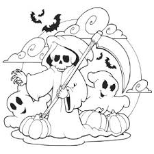 Scary Ghosts Halloween Coloring Page