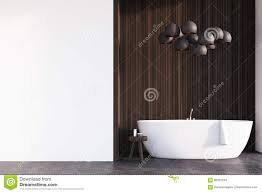badezimmer mit len dunkles holz wand stock abbildung