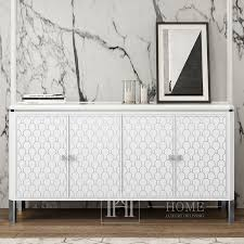 luxuriöse moderne ombré kommode für das wohnzimmer mit hochglänzendem gatsby in weiß und silber