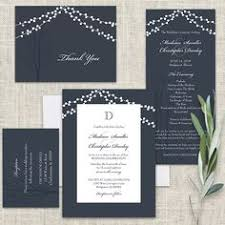This Beautiful Rustic Wedding Invitation Features String Lights Draped Across The Top Your Monogram And A Navy Blue Background