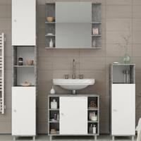 badmöbel set fynn grau beton badezimmer spiegel waschtisch unterschrank badschrank