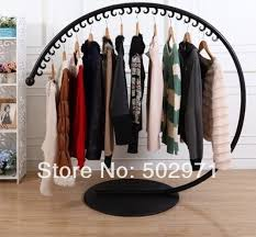 Free Shipping Iron Floor Clothes Rack Hanger Creative Arc Clothing Display