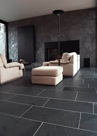 Contemporary Living Room With Slate Flooring