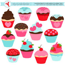 Valentine s Cupcakes Clipart Set cupcakes hearts Valentine s Day pink red blue personal use small mercial use instant from