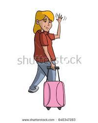 Cartoon woman waving goodbye